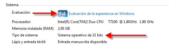 Evaluación de la experiencia en Windows