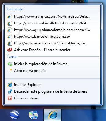 Lista Jump de Internet Explorer