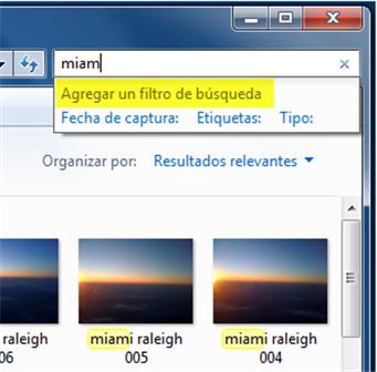 Selecciona una opción de búsqueda con Filtro