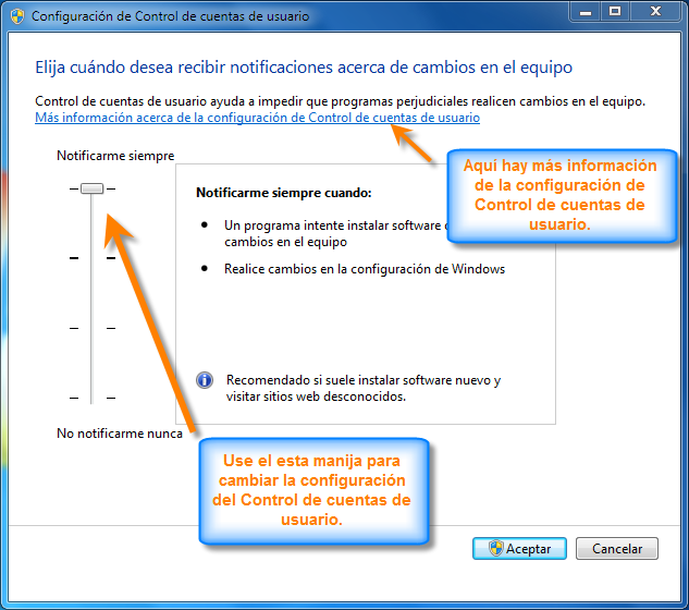 Cambiar Configuración de Control de Cuentas de Usuario