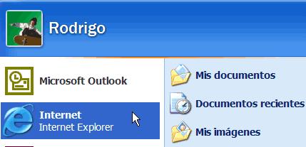 Ejecutar Internet Explorer desde el menú inicio