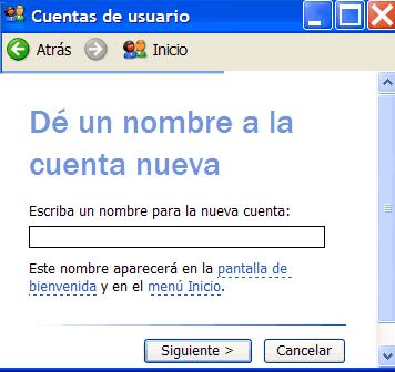 Nombrar cuenta de usuario