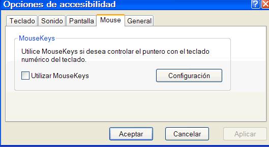 Opciones mouse