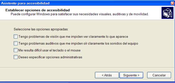 Opciones de accesibilidad
