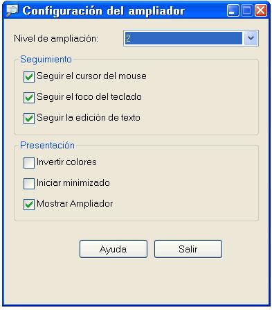 Configuración del ampliador
