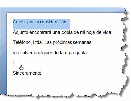 Imagen ejemplo de cómo arrastrar texto en Word 2007.