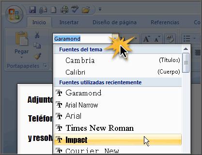 Imagen ejemplo de cómo cambiar el tipo de letra en Word 2007.