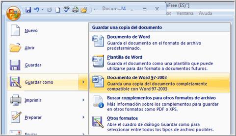 Imagen ejemplo de la opción Documento Word 97-2003.