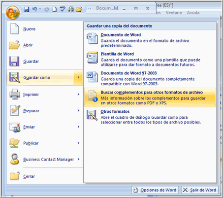 Imagen ejemplo de cómo guardar un documento en PDF en Word 2007.