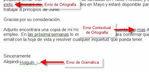 Imagen ejemplo de errores ortográficas, gramaticales y de contexto en Word 2007.