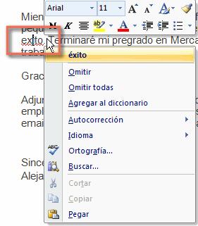 Imagen ejemplo de cómo usar el corrector de Word 2007.