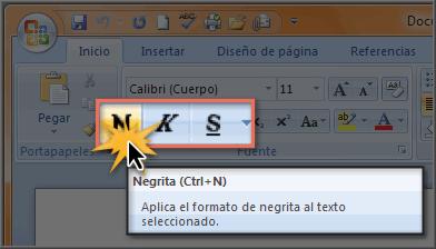 Imagen ejemplo de los comandos Negrita, Cursiva y Subrayado.