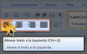 Imagen ejemplo de los comandos de alineación de texto.