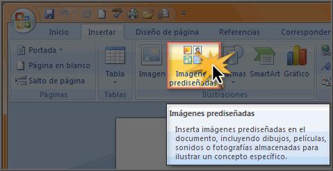Imagen ejemplo del comando Imágenes prediseñadas.