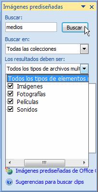 Imagen ejemplo del panel de tareas Imágenes prediseñadas.