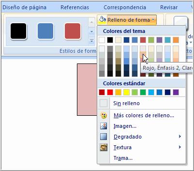 Imagen ejemplo del comando Relleno de forma en la pestaña Formato.