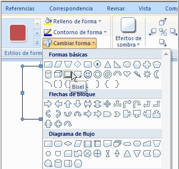 Imagen ejemplo del comando Cambiar forma y su menú desplegable.