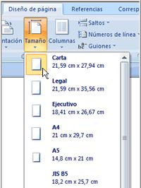 Imagen ejemplo de cómo cambiar tamaño de página en Word 2007.