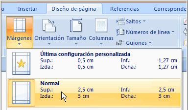 Imagen ejemplo del comando Márgenes.