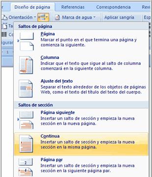 Imagen ejemplo del menú de los saltos de página de Word 2007.
