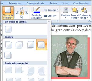 Imagen ejemplo de cómo agregar efectos de sombra para una imagen en Word 2007.