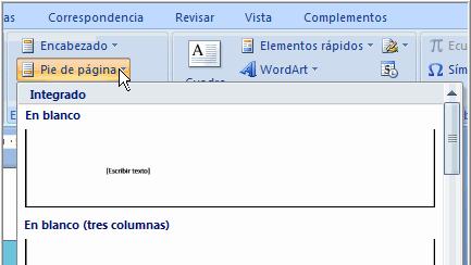 Imagen ejemplo de cómo insertar encabezado o pie de página