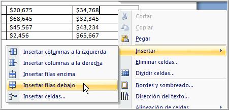 Imagen ejemplo de cómo insertar nuevas filas en una tabla en Word 2007.