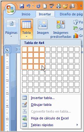 Imagen ejemplo de cómo insertar una tabla en blanco.