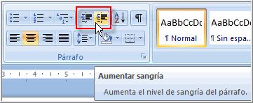 Imagen ejemplo de los comandos de sangría en Word 2007.