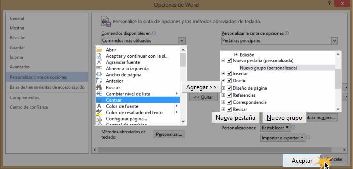 Vista del cuadro de opciones de Word 2013.