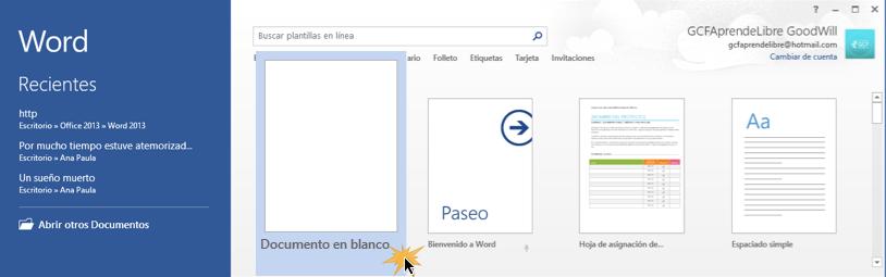 Vista de la opción Documento en blanco.