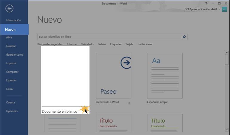 Vista de la opción Nuevo y Documento en blanco.