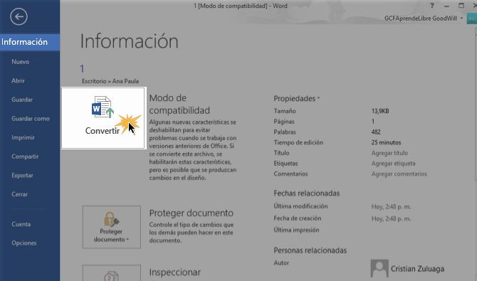 Vista de la opción Información y el botón Convertir.
