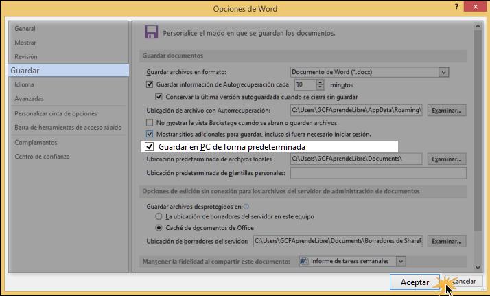 Vista de cuadro de diálogo de opciones de Word.
