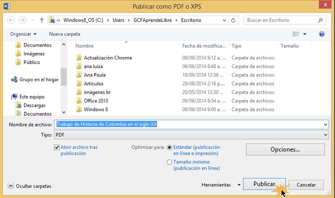 Vista del paso 4 para convertir un documento en un archivo PDF en Word 2013.