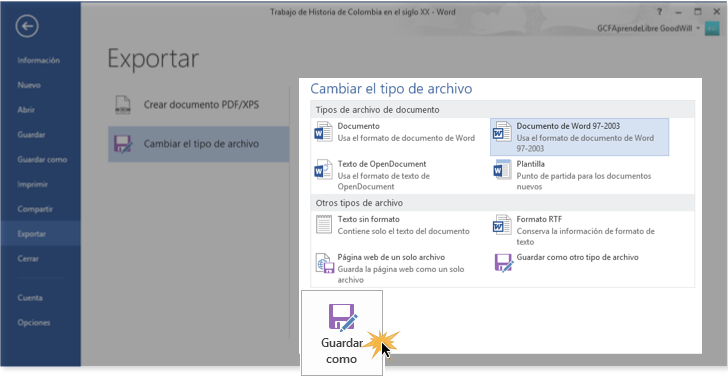 Vista del tercer paso para exportar un archivo en Word 2013.