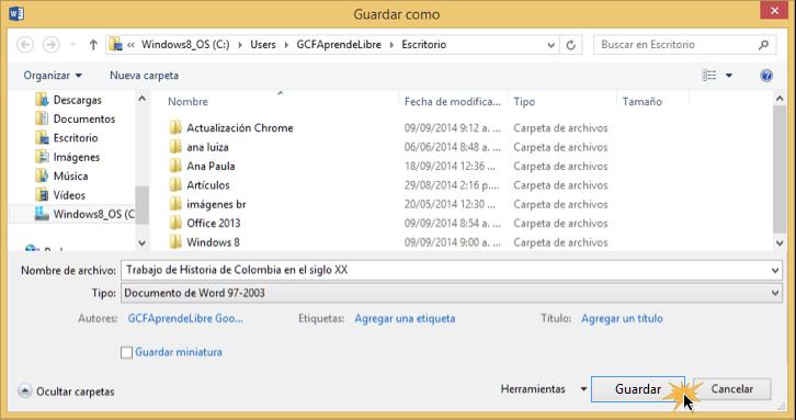 Vista del cuadro de diálogo de Guardar como, último paso de exportar un archivo.