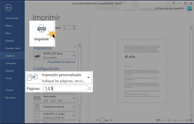 Imagen de cómo se usa la opción Impresión personalizada.