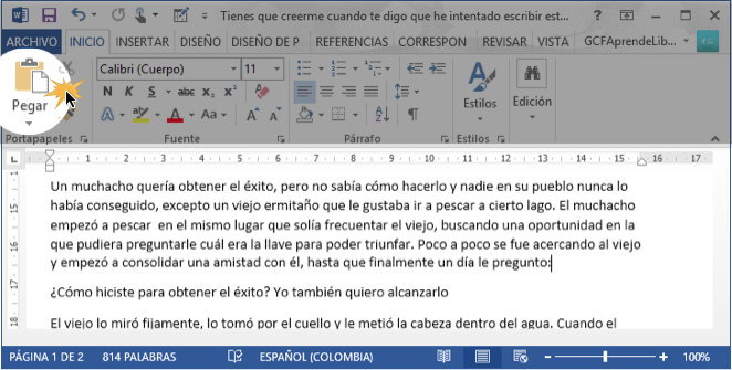 Word 2013 Copiar Y Pegar Un Texto En Word 2013