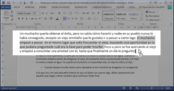 Vista de cómo se arrastra texto en Word 2013.