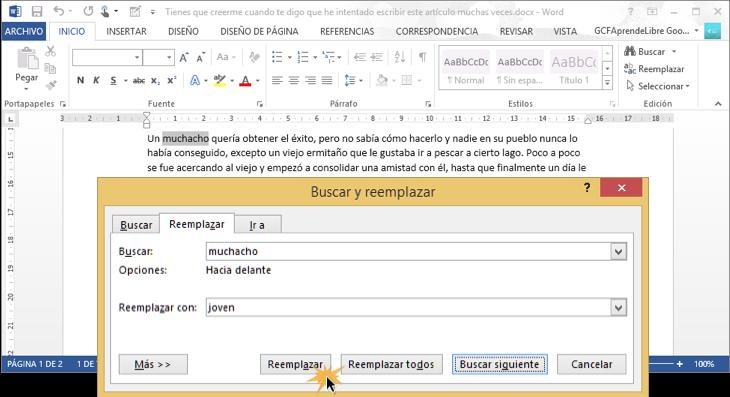 Vista de cómo remplazar algo en el texto con el comando Remplazar.