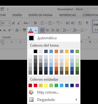 Vista del botón Color de fuente y menú desplegable.