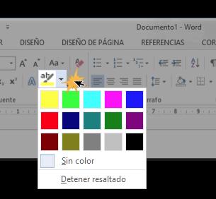 Vista del botón Color de resaltado del texto y el menú desplegable.