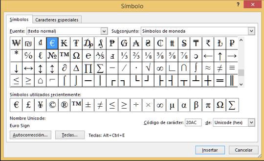 Cuadro de símbolos de Word 2013.