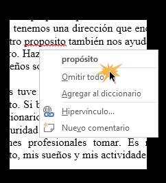 Vista del proceso de corregir automáticamente en Word 2013.