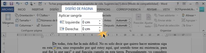 Vista de cómo modificar las sangrías en la pestaña Diseño de página en Word 2013.