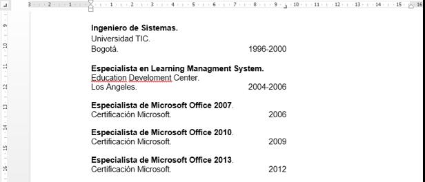 Imagen de ejemplo de uso de tabulaciones en Word 2013 en un currículum.