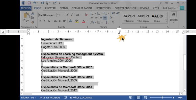 Vista de la parada de tabulación en la regla horizontal de Word 2013.