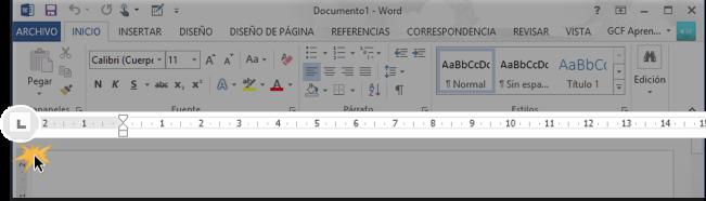 Vista del selector de tabulación en la regla horizontal de Word.