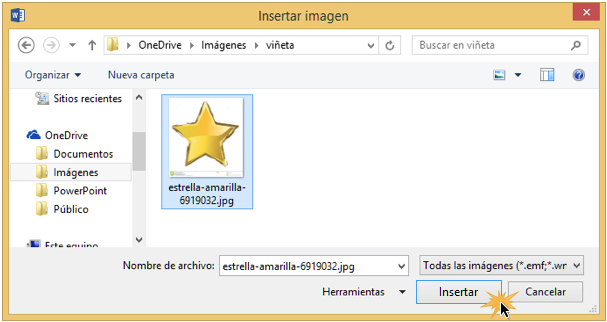 Vista del cuadro de diálogo para buscar la imagen y el botón Insertar.